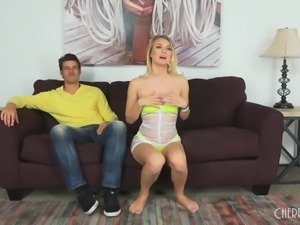 Natalia's best buddy came over to stuff her pussy on the couch