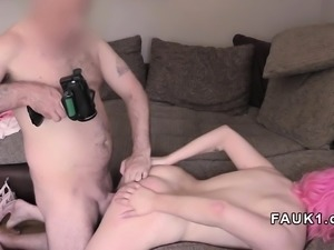 Pink haired babe anal fingered in casting