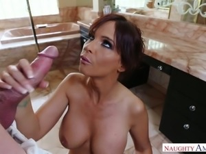Gorgeous bitch with super big boobs Syren De Mer is fucked by horny guy