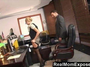 Caught with finger in pussy she gets fucked by the boss