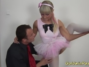 Hot flexible ballerina gets deep anal fisted and fucked by her trainer