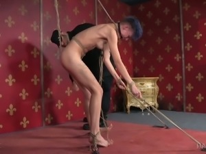 Heavily inked disgusting slut Billy Nyx gets harshly tied and roughly whipped