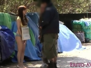 Japanese model pounded in van threesome
