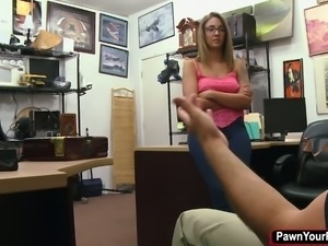 Busty babe ends up getting fucked in the pawnshop