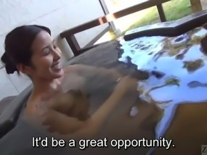 Subtitled Japanese mature Tae bathes in outdoor onsen