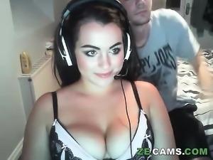 Nasty pigtail brunette big boobs like blowjob