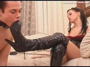 Fun loving Russian bimbo enjoying her feet being licked in femdom shoot