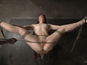 Miserable red haired slut Barbary Rose gets bound and double team fucked hard