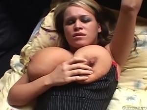Mega busty slutty hottie Brandy Talore gets fucked in mish position after...