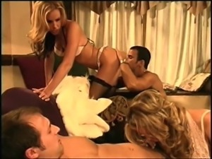 Two hunks fuck their gorgeous ladies during a nice orgy