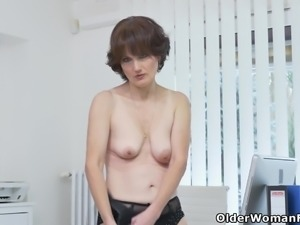 Euro milf Alice Sharp shows how it is done at the office