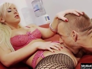 Alluring blonde in fishnet stockings having her anal worked on hardcore