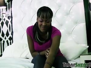Jizz mouthed black teen