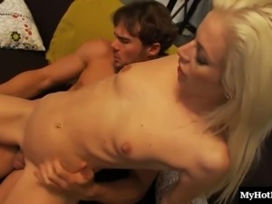 Small tits blonde in thong enjoying her shaved pussy ravished