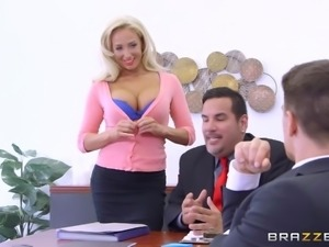 The perks of being the top salesman in the office, include being sucked off...