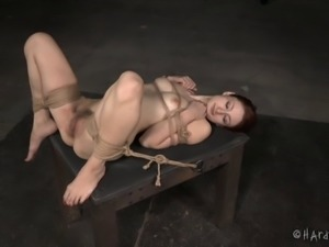 Sexy redhead with small tits and the roughest BDSM session of her life