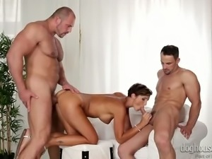 Two bisexual studs drill each other and one babelicious brunette milf