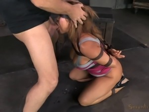 Masked tied bondage diva face fucked when tortured in BDSM