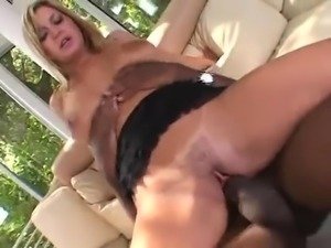Blonde slut takes BBC up her ass and swallows cum