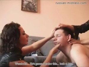 Intelligent Russian damsel unpinning her leather boots then loving her toes...