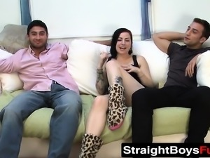 Serge has his fantasy threesome fuck with a chick and a dude