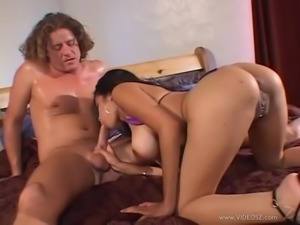 Latina brunette with big tits gives handjob then drilled doggystyle