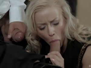 Cum on her tits after pleasing long pulsating schlongs