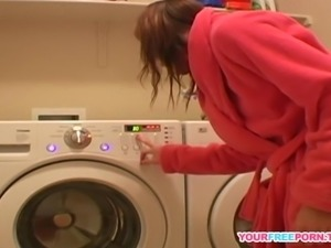 Young Diana teasing herself on new washing machine