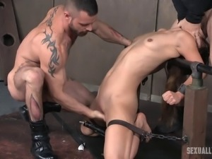 Small-tits babe Devilynne tortured during an intense BDSM action