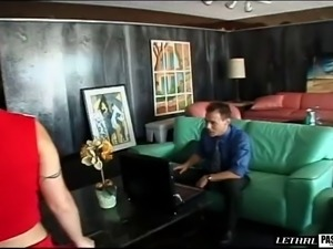 Cheerleader shading uniform then having her shaved pussy banged with big cock