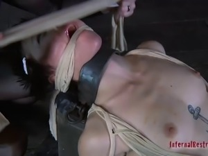 Short hair bondage dame getting drilled with strapon in femdom BDSM
