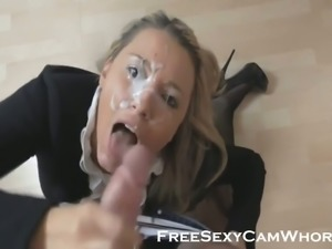 This blonde is a cum guzzling expert and she loves cock sucking