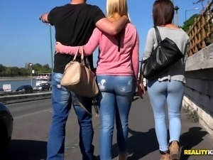 horny pornstars in jeans get naughty in ffm threesome