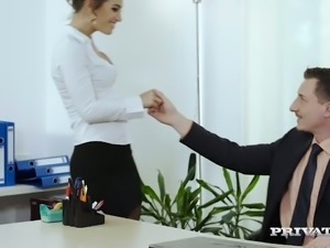 Fuckable secretary nailed deep in her snatch doggystyle