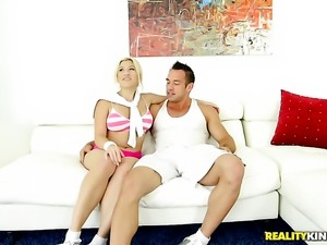 Blonde Cristi Ann with huge knockers and shaved muff cant resist the temptation