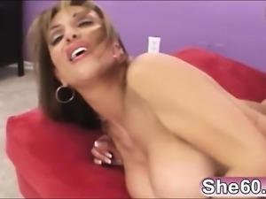 Giant cock for brunette mature slut