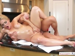 Oiled up MILF Alexis Texas fucked bad in the kitchen