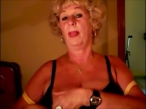 Amazing wrinkled old mature whore got rid of her bra to show off her tits