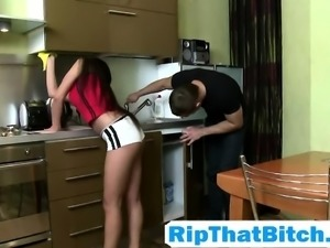 Cosette Ibarra in kitchen rough sex anal action