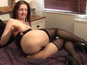 Randy brunette Patti dolls up for a nice solo sex session