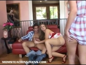 Blonde teen Ella learns doggty style from brunette milf