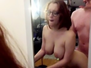 Nerdy girl with big tits gets fucked by BF