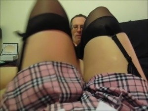 Dominatrix whips Stocking Foot Slave