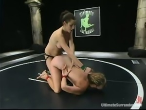 Lesbian Wrestling Action with Blonde and Brunette Looking to Strapon Fuck
