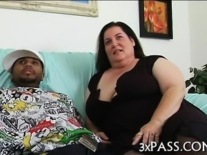 Big tittied fat woman is performing really great fellatio