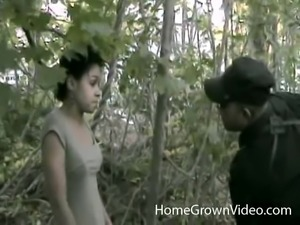 Ebony honey talked into sucking and fucking a long dong