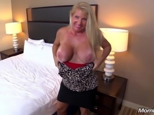 Huge Boobs Blonde MILF fucks young cock POV