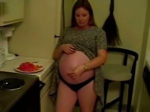 Solo Scene With Horny Pregnant Slut Rubbing Her Vagina