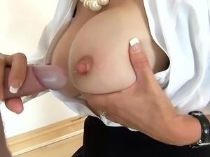 WORLD NYLONS lady tan pantyhose blow tits