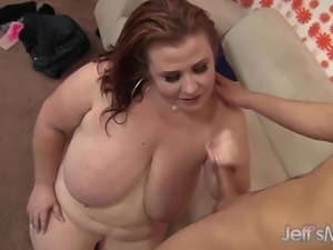 Chubby MILF Gets Her Mouth and Cunt Fucked by a Young Cock